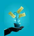businessman hand holding a pot with money tree vector image vector image