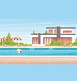 cartoon no people luxury spa poolside with vector image vector image