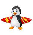 cartoon penguin holding surfboard vector image