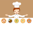 Chef With Different Menus vector image