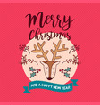 christmas and new year deer holiday cartoon card vector image