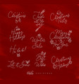 christmas pen line lettering red vector image