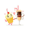coffee latte and cupcake with cherry on top cute vector image vector image