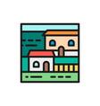 cottage vacation home landscape flat color line vector image