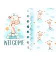cute giraffe pattern set hand draw vector image vector image