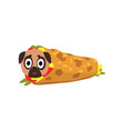 cute pug dog wrapped in a taco roll funny dog vector image vector image