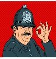 English policeman in uniform and helmet shows vector image vector image