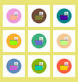 flat icons set of file and folder concept on vector image vector image