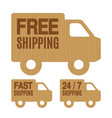 free shipping and delivery labels vector image vector image