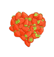 Heart shape by strawberries vector image vector image