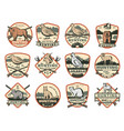 hunting club wild animals and ammo icons vector image