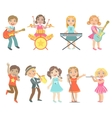 Kid Singing And Playing Music Instruments Set vector image vector image