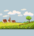 lovely country rural landscape farm flowers vector image vector image