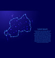 map rwanda from the contours network blue vector image vector image