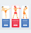 martial arts fighters karate fighter boxer vector image