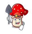 miner amanita mushroom mascot cartoon vector image vector image