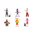 musicians and singers in bright costumes on stage vector image vector image