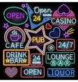 Neon bar illumination signs vector image