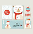 polar bear merry christmas greeting card set vector image vector image