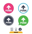 Push sign icon Press arrow symbol