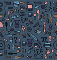 seamless pattern of kitchen equipments vector image vector image
