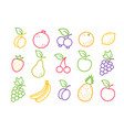 set icons fruits and berries in flat style vector image
