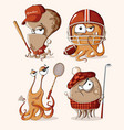set of funny retro sport monsters vector image