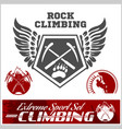 set of mountain climbing vintage logos emblems vector image