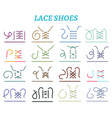 Shoe lacing methods icons set