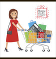shopping fun for everyone cartoon woman with cart vector image vector image