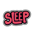 sleep lettering stitched frame vector image vector image