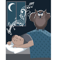 Snoring man and annoyed owl vector image vector image