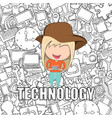 teenage girl wearing hat playing with phone happy vector image vector image