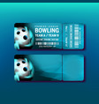 ticket on premier league of bowling game vector image vector image