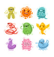 viruses and bacteria cartoon characters set vector image