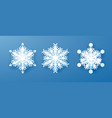 white paper snowflakes set new year and christmas vector image vector image