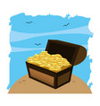 wooden chest box with gold coins in the sea vector image