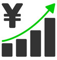 yen growth trend flat icon vector image vector image