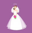 young beautiful bride is in an elegant wedding vector image vector image