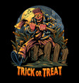 zombies carrying axes going to a halloween party vector image vector image