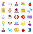 work flow icons set cartoon style vector image