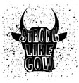 cow head silhouette and lettering vector image