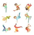 Kids Performing Modern Dance Set vector image