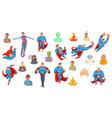 super heroes icon set cartoon style vector image
