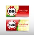 011 Christmas gift voucher card template with red vector image vector image