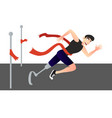 a disabled man crosses the finish line vector image vector image