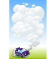 A violet car with smoke vector image