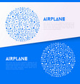 airplane concept in circle with thin line icons vector image vector image
