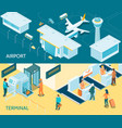airport isometric banners vector image vector image