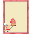 Baker cartoon border vector image vector image